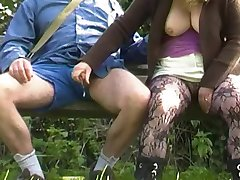 bench, public handjob by the canal