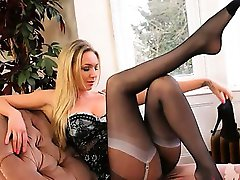 Spread legs and seductively horny babe
