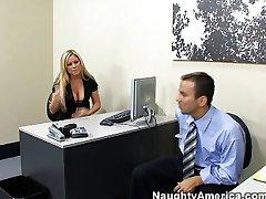 Office pranks beautiful busty blonde