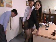 Asian secretary, long black hair seduced