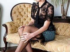 Glamorous Bianca in sheer black panties, merry widow and RHT nylons!