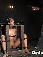 Her head is in a wooden stock, her wrist are restrained with metal cuffs and she is mounted on a...