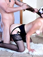 Dolled-up hottie riding a fat studly cock in her elegant gartered stockings