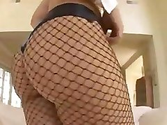 Latin big ass babe in fishnet pussy drilled hard , ass covered with cum