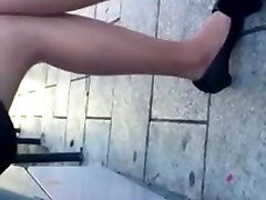 Candid Bus Stop Shoeplay Feet Nylons Pantyhose 3 Dangling