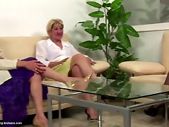 Old granny having sex with mature mom and young girl