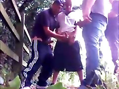 Man gets fucked and sucks group of men in public