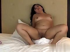 Amateur Asian BBW masturbates