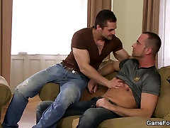 Lovely gay homosexual blowjob and sex