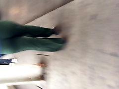 Wonderful big booty black MILF in green pants vpl