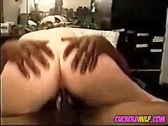 BBW cuckold MILF fucked by two black bulls Sissy cleans