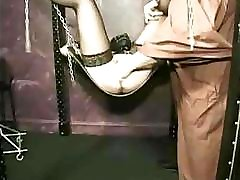 Bondage clip with him fisting her deep into her wet pussy
