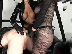 Guy getting strapon fucked by two women