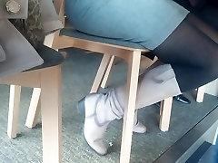 Granny legs in pantyhose
