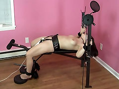 Strapped to bench, made to orgasm over and over