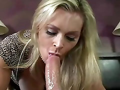 Blonde milf in black stockings gets creampied