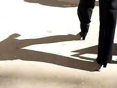 Nice mature slim booty in black dress pants 3