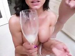 Kendra Lust drinks cum