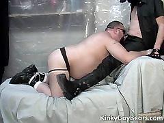 Chubby bear slave sucks off his master&039;s dick