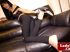 Exotic ladyboy Baiw wanking off on couch