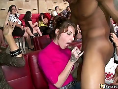 Gorgeous women sucking cock at CFNM party