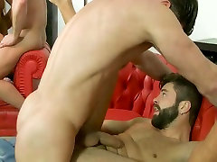 Hot dudes have a reunion orgy ass fucking full of spunky cum