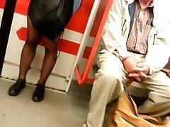 Tight black miniskirt and black sheer pantyhose
