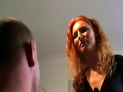 Femdom Redhair Amateur Girl in Boots dominate husband at hom