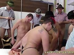 extreme lederhosen gangbang fuck party