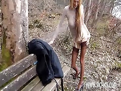 Fisting his hot wife over a public park bench