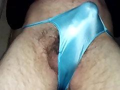 Pre cumming in my shiny blue panties