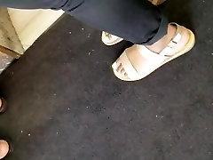 Candid ebony feet purple toes