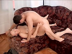 Old & Young - hot mom gets hard young cock after cleaning