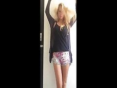 cute girl big tits blonde striptease 4