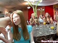 Fat bachelorette deepthroater sucks strippers cock