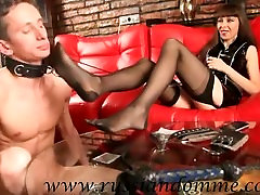 Russian mistress Lana playing with Her slave