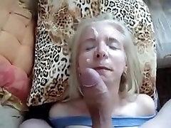 Blonde milf loves facial. Caroline from DATES25.COM