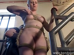 Blonde bondage babe Satine Sparks lesbian domination and stairway tied