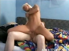 Blond Amateur MILF get fucked in bedroom by big cock