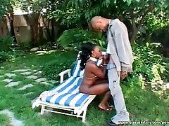 Perfect ebony fucked in the backyard