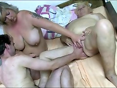 Granny fucked as she licks young BBW pussy
