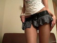 Luscious teen in nylons teasing solo