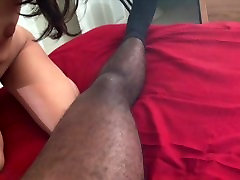 Sexy Asian Kim Kong sucks and strokes a black cock