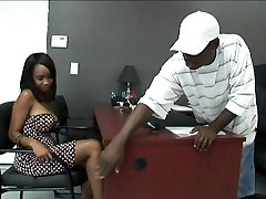Black stud gets to fuck a hot Ebony Girl in his Office:xxblacks.com