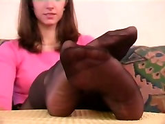 Black Nylon Feet Tease