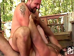Interracial Muscle Bears Fuck in the Forest