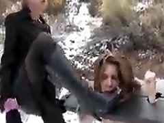 Mistress Claire and her slave girl on snow