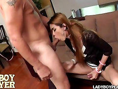 Sexy asian shemale aggression to suck until gagging and then skull fucked