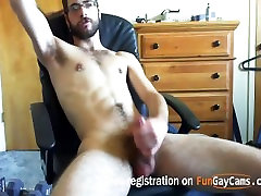 hot amateur guy with pierced cock jerks off on webcam