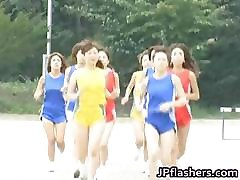 Asian amateur competes nude in track part1